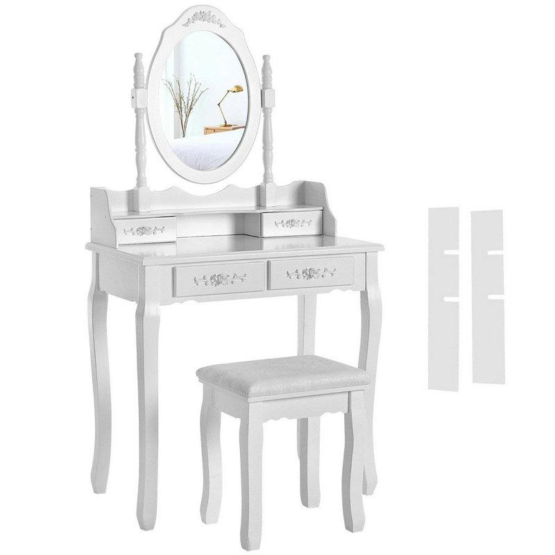 4 Schubladen Spiegel Schminktisch Set